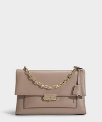 Cece Large Chain Shoulder Bag in Truffle Polished Leather
