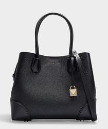 Mercer Gallery Medium Center Zip Tote Bag in Black Grained Calfskin