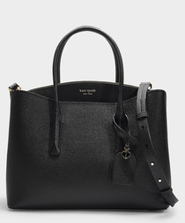 Margaux Large black leather satchel