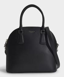 Sylvia Large Dome black leather satchel