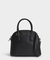 Sylvia Medium Dome black leather satchel
