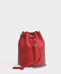 Mini Falabella Thin Chain Bucket Bag in Lover Red Eco Leather