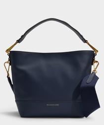 Sullivan blue leather bucket bag