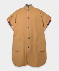 Camel wool blend reversible cape