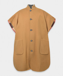 Camel wool blend reversible cape