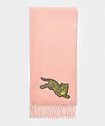 Jumping Tiger pink wool stole