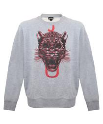 Grey pure cotton graphic sweatshirt