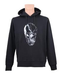 Black pure cotton graphic hoodie
