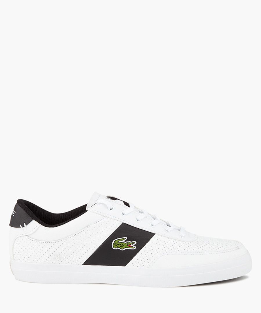 Black & white leather logo sneakers Sale - lacoste
