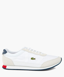 White red & blue leather logo sneakers