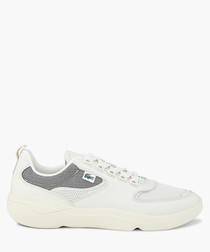 Off-white leather logo sneakers