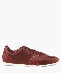 Brown leather logo sneakers