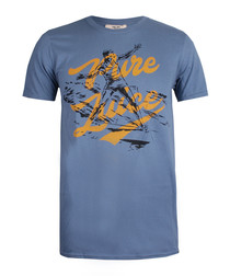 Indigo pure cotton graphic T-shirt
