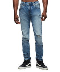 Light wash distressed casual fit jeans