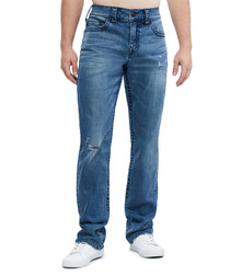 Dark wash distressed casual fit jeans