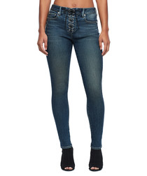 Mid wash lace-up jeans