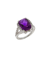 Juliet white gold-plated purple stone ring