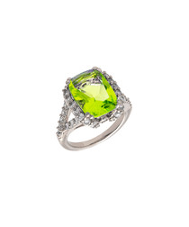 Juliet white gold-plated lime stone ring