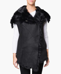 Norica black shearling & leather gilet
