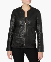 Steenbras black leather bomber