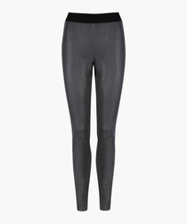 Cowley charcoal leather leggings