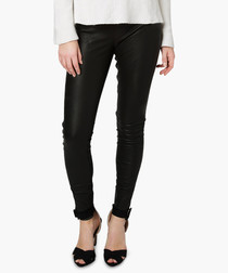 Cowley black leather stretch leggings