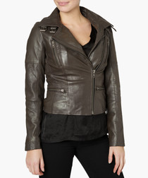 Nobel seal grey leather biker jacket