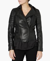 Hudson black leather biker jacket