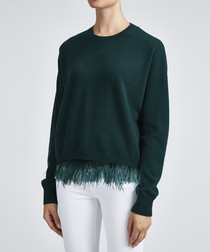 Dark green feather embellished jumper