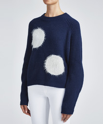 Navy fluffy dots jumper