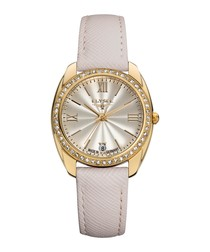 Diana gold-tone leather strap watch