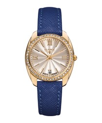Diana blue leather strap watch