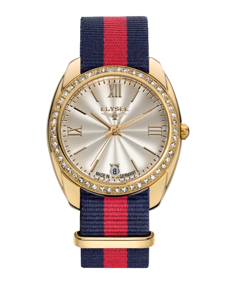 Diana gold-tone & striped strap watch Sale - Elysee