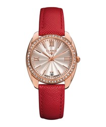 Diana red leather strap watch