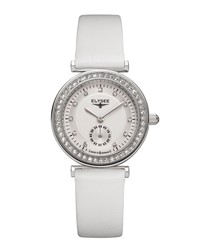 Maia white leather strap watch