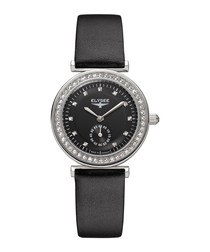 Maia black leather strap watch