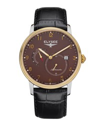 Priamos black leather strap watch