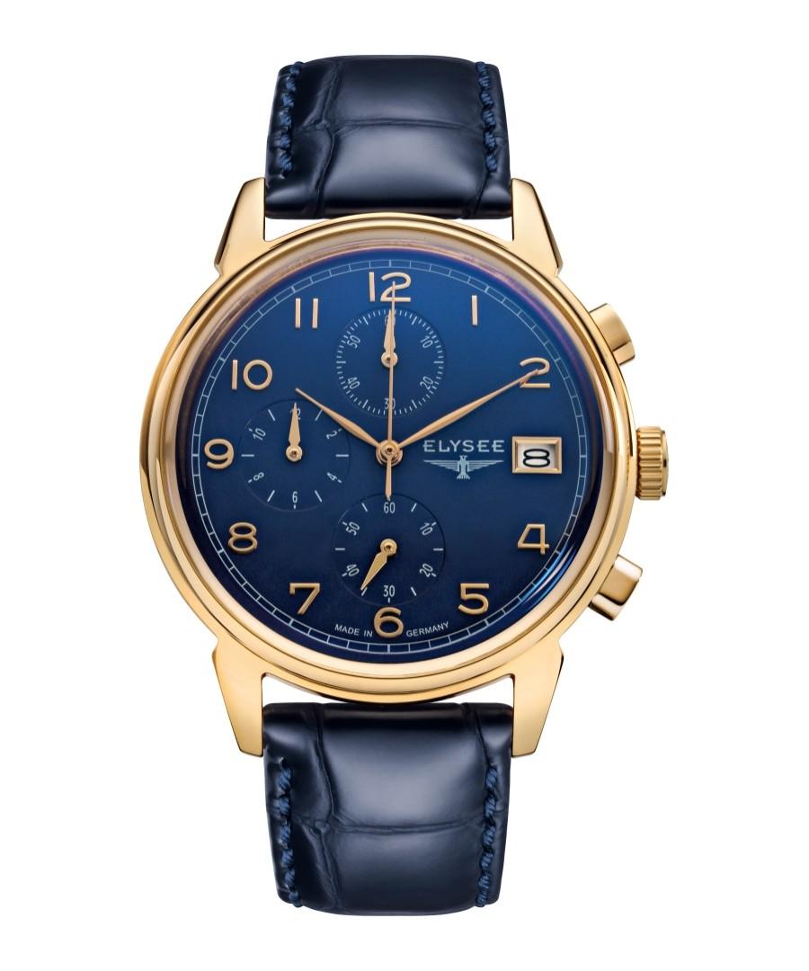 Vintage Chrono blue leather watch Sale - Elysee