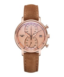 Minos Lady suede strap watch
