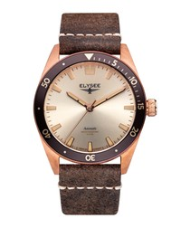 Bronze leather automatic watch