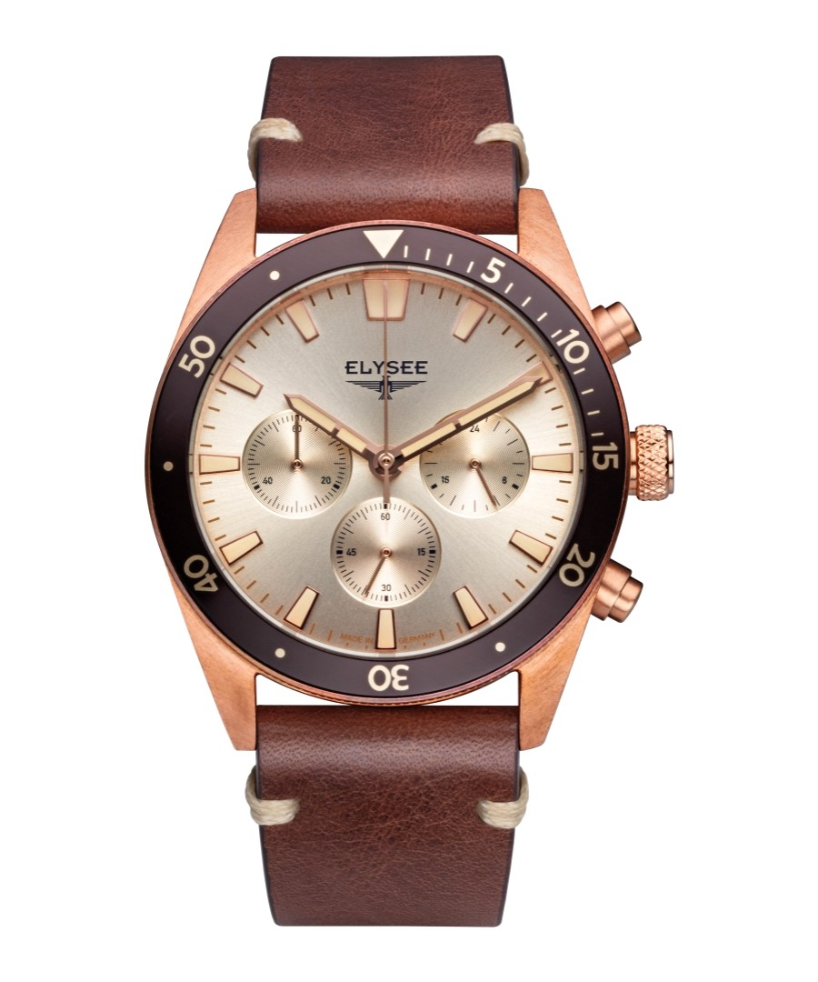 Brown leather strap chrono watch Sale - Elysee