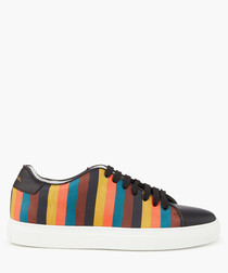 Multi-coloured leather striped sneakers