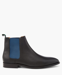 Black leather contrast Chelsea boots