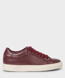 Burgundy leather low-top sneakers