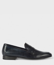 Dark navy leather slip-ons