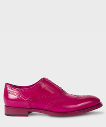 Fuchsia leather perforated shoes