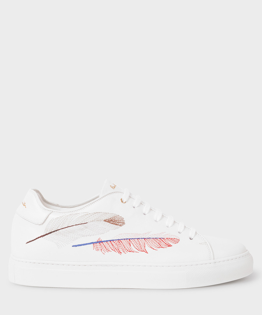 White leather feather motif sneakers Sale - paul smith