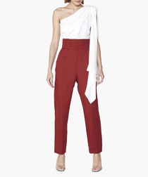 Lisson white & red one-shoulder jumpsuit