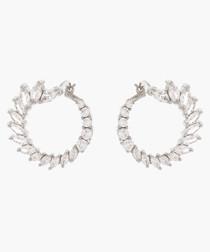 Hydrangea 18k white gold-plated earrings