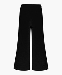 Black pure cashmere wide-leg trousers